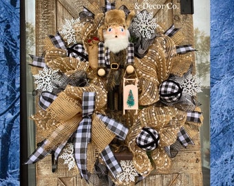 Santa Wreath for Front Door, Farmhouse Christmas Wreaths, Nutcracker Wreath, Christmas Gift, Buffalo Check Decorations, Holiday, Rustic