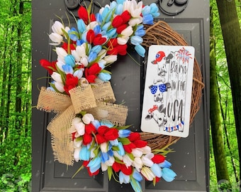 Farmhouse Summer Wreath, Cow Decor, 4th of July Wreath, Summer Decor, Patriotic Home Decor, Country Wreath, Front Door Decorations, USA
