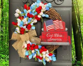 Patriotic Wreath, Summer Tulip Wreath, Patriotic Home Decor, Red Truck Decor, Flag Wreath, Farmhouse Front Door Wreath, Country Wreath
