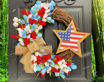 Tulip Wreath, 4th of July Wreath, American Flag Wreaths, Patriotic Home Decor, Military Wreath, Housewarming Gift Ideas, America Wreath, USA
