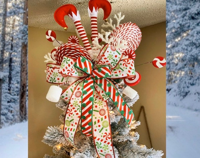 Featured listing image: Christmas Tree Topper, Tree topper bow with streamers, Christmas Tree Star, Elf Christmas Decor, Fake Candy Christmas Decorations