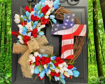 Cross Wreath, Tulip Wreath, 4th of July Wreath, American Flag Wreaths, Patriotic Home Decor, Military Wreath, Memorial Day Wreath, USA