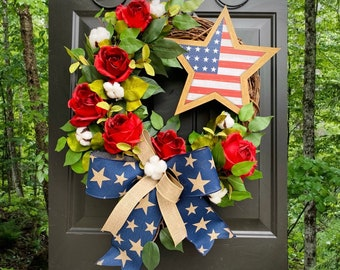 Red White Blue Wreath, 4th of July Wreath, Independence Day Decor, Memorial Day, Patriotic Wreath, Cross Wreath, Summer Front Door Wreath