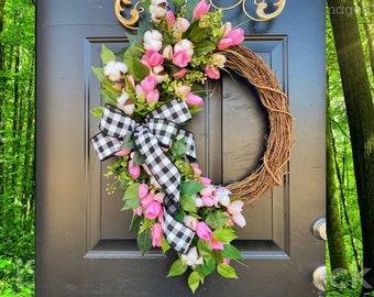 Spring Wreaths, Tulip Wreath, Front Door Wreaths, Everyday Wreath for Front Door, Mothers Day Gifts, Spring Door Decor, Spring Grapevine