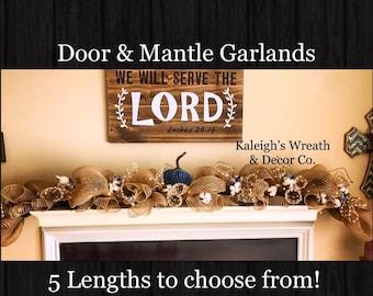 Fall Door Garland, Fall Swag, Thanksgiving Door Decor, Fall Wreath, Fall Decorations, Fall Mantle Garland, Pumpkin Garland, Autumn Decor