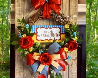 Theirs no place like home wreath, Everyday Wreath, Mother's Day Gift, Housewarming Gift, Year Round Wreath, Wreath with Roses, Grapevine