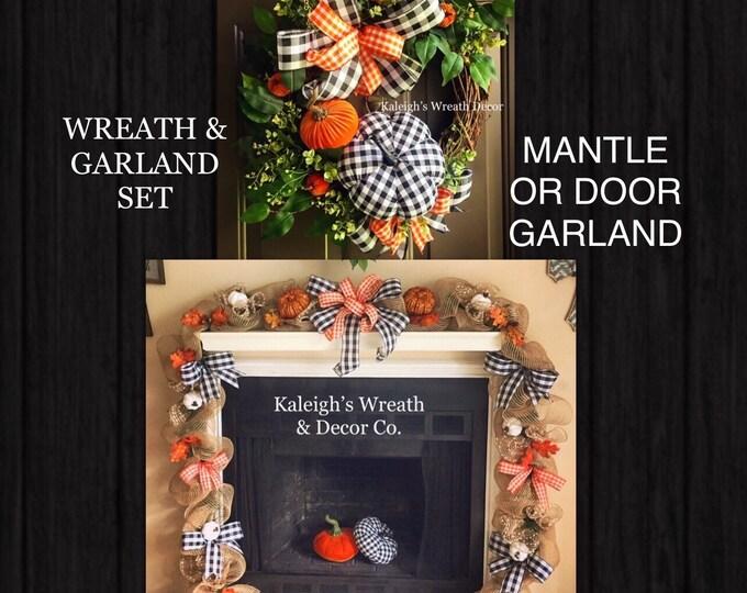 Featured listing image: Fall Garland, Halloween Garland, Fall Wreath and Garland, Halloween Wreath, Door Garland, Mantle Garland, Buffalo Check, Fall Decorations