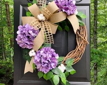 Purple Hydrangea Wreath, Farmhouse Wreath, All Season Wreath, Summer Wreath, Spring Wreath, Rustic Home Decor, Cotton Grapevine Wreaths