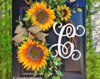 SUNFLOWER Wreath, Grapevine Flower Wreath, Front Door Wreath, Farmhouse Wreath, Spring Wreath, Summer Wreath, Wreath with Burlap Bow, Rustic