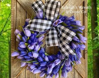 Spring Tulip Wreath, Buffalo Check Wreath, Spring Front Door Wreath, Summer Wreath for Front Door, Easter Wreaths, Wreaths, Black and White