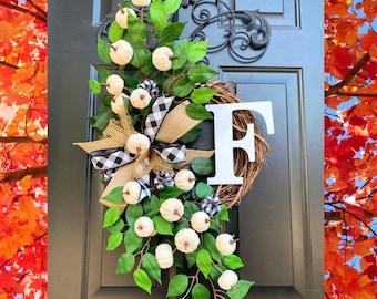 Buffalo Check Fall Wreath, Fall Pumpkin Wreath, Black and white Wreath for Front Door, Fall Grapevine, Wreath with Pumpkins, Monogram Wreath