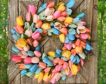 Spring Wreath for Front Door, Tulip Wreath for Front Door, Pink Tulip Wreath, Blue Tulip Wreath, Yellow Tulip Wreath, Easter Wreath, Tulips