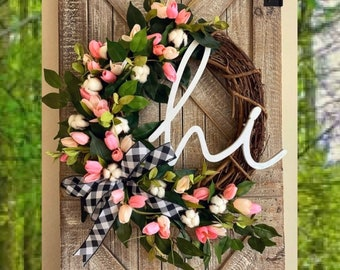 SPRING Wreath for Front Door, Mothers Day Gift, Farmhouse Wreath, Buffalo Check Wreath, Greenery Wreath, Tulip Door Wreath, Tulip Grapevine