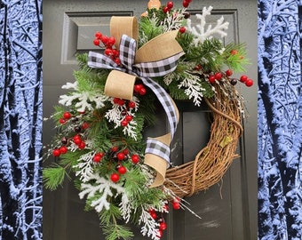 Farmhouse Christmas Wreath, Buffalo Check Wreath, Black and White Wreath, CHRISTMAS Wreaths for Front Door, Winter Wreath, Rustic Christmas