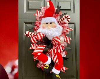 Santa Wreath for Front Door, Santa Christmas Wreath, Santa Door Decor, Candy Cane Wreath, Candy Wreath, Christmas Home Decor,  Holiday Decor