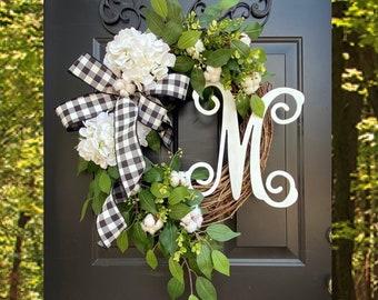 Summer Wreaths for Front Door, Wreaths, Wreath, Etsy Wreaths, Spring Hydrangea Wreath, Front Porch Wreath, Hydrangea Wreath, Buffalo check