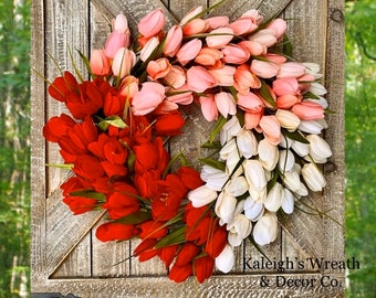 Valentines Day Tulip Wreath, Tulip Wreaths for Front Door, Everyday Wreath, Housewarming Gift, Wedding Gift, Pink and Red, Decoration, Decor