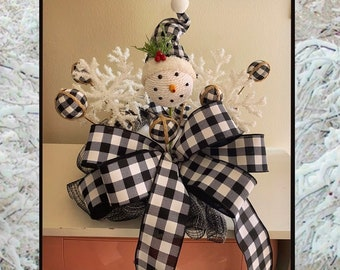 Christmas Tree Topper, Buffalo Check Christmas Decorations, Tree topper bow with streamers, Christmas Tree Star, Ornament, Snowman, Plaid