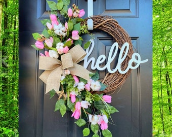 Spring Wreath for Front Door, Farmhouse Spring Decor, Cotton Front Door Wreath, Tulip Wreath for Front Door, Spring Wreath, Mothers Day