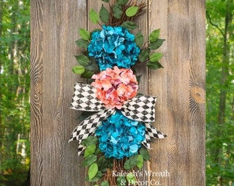 Everyday Wreath, Hydrangea Wreaths, Country Shabby Chic Wreath, Spring Hydrangea Wreath, Housewarming Gift, Turquoise Wreaths, Gifts, Summer