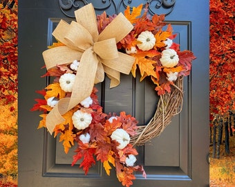 FALL Wreaths, Pumpkin Wreath, Thanksgiving Wreath, Burlap Fall Door Wreath, Fall Decor, White Pumpkin Wreath, Rustic Autumn Wreaths, Home