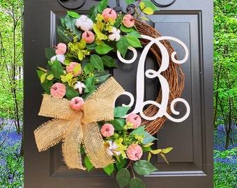 Pink Fall Wreath, Breast Cancer Awareness Wreath, Wreath for Front Door, Fall Wreaths, Pumpkin Wreath, Autumn Wreath, Pink Pumpkins, Cotton