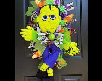 Frankenstein Halloween Wreath, Halloween Front Door Wreath, Halloween Decor, Pumpkin Wreath, Candy Corn Wreath, Decomesh, Scary Halloween