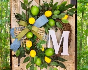 lemon and lime wreath, lemon wreath, lime wreath, monogram wreath, fruit wreath, summer wreath, wreath with lemons, kitchen wreath