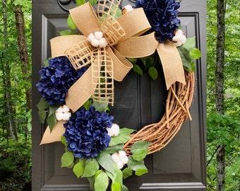 Blue Hydrangea Wreath, Farmhouse Wreath, All Season Wreath, Summer Wreath, Spring Wreath, Rustic Home Decor, Cotton Grapevine Wreaths, Door