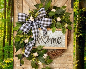 Spring Wreath for Front Door, Rustic Door Decor, Monogram Wreath, Hello Wreath, Cotton Decor, Greenery Grapevine, Housewarming Gift, Wedding