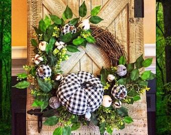 Fall buffalo check & cotton wreath