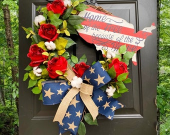 Home of the free because of the brave, Memorial Day Wreath, 4th of July Wreath, Farmhouse Summer Wreath, Patriotic Decor, Rose Wreath