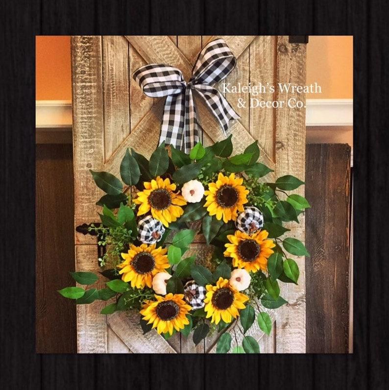 Fall Sunflower Wreath Fall Door Wreath Sunflower Wreath image 0