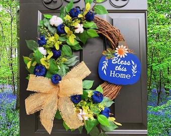 Blue Fall Wreath, Fall Wreath for Front Door, Fall Wreaths, Pumpkin Wreath, Autumn Wreath, Front Door Wreaths, Fall, Pumpkin Decor, Cotton
