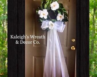 Wedding Wreath, for church doors, Bridal veil door hanger, Bridal Shower Decor, Wedding Decor, Front Door Wreaths, Magnolia Wreaths, Gifts