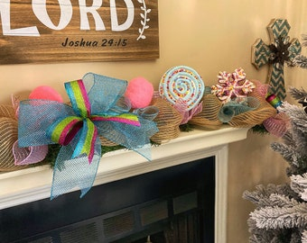 Christmas Candy Decorations, Pink and Blue Christmas Garland for Mantle, Garland for staircase, Garland for Front Door, Winter Decor