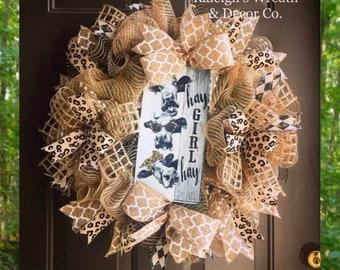 Farmhouse Wreaths, Cow wreath, Summer Burlap Wreath, Cow Decor, Farmhouse Burlap Wreath, Burlap Front Door Wreaths, Leopard Print Wreath