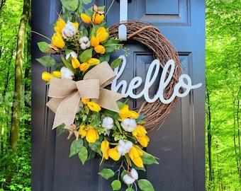 Spring Wreath for Front Door, Farmhouse Spring Decor, Cotton Front Door Wreath, Tulip Wreath for Front Door, Spring Wreath, Yellow Wreath