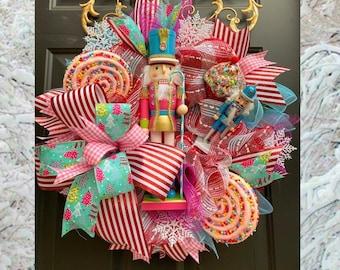 Nutcracker Wreath, Nutcracker, Nutcracker Decor, Nutcracker Christmas, Nutcracker Swag, Snowflake Wreath, Candy Wreath, Christmas Wreath