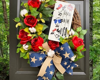 Barn in the USA, Country Wreath, Farmhouse Home Decor, Patriotic Wreath, 4th of July Decorations, Cotton Wreath, Red White and Blue Wreath