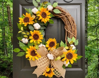 Sunflower Wreath for Front Door, Sunflower Decor, Monogram Wreath, Summer Wreath, Farmhouse Wreath, Cotton Wreath, Grapevine, Rustic Wreaths