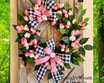Spring Wreath for Front Door, Buffalo Check Decor, Cotton Front Door Wreath, Tulip Wreath for Front Door, Everyday Wreath, Gift for Mom
