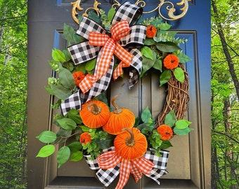 Buffalo Check Wreath, Buffalo Plaid, Fall Buffalo Check, Fall Grapevine, Farmhouse Fall Decor, Buffalo Check Decor, Rustic Fall Decor, Fall