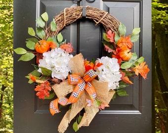 Fall Hydrangea Wreath, Fall Grapevine Wreaths for Front Door, Hydrangea Wreath, Pumpkin Wreath, Buffalo Check Autumn Decor, Farmhouse Rustic