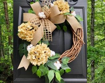 Cream Hydrangea Wreath, Farmhouse Wreath, All Season Wreath, Summer Wreath, Spring Wreath, Rustic Home Decor, Cotton Grapevine Wreaths
