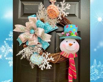 Snowman Christmas Wreath, Winter Front Door Wreath, Christmas Candy Wreath, Whimsical Christmas, Snowman Decorations, Wreaths for Christmas