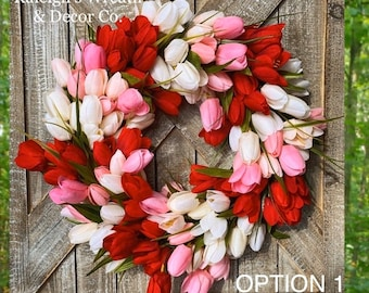 Spring Wreath for Front Door, Tulip Wreath, Front Door Wreath, Shabby Chic Home Decor, Everyday Wreath, Spring Door Wreath, Outdoor Wreath