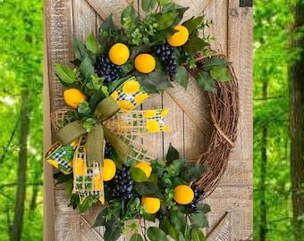 Lemons Wreath, Yellow Lemons Wreath, Boxwood and Lemons, Blueberries and Lemons, Summer Door Wreaths, Front Porch Wreaths, Harvest Wreath