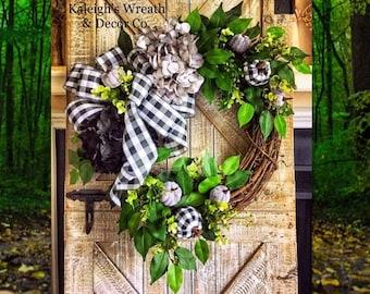 Halloween Wreath - Fall Black White Buffalo Plaid Grapevine Wreath - Autumn Hydrangea Wreaths - Gray Buffalo Check Wreath for Front Door