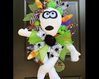 Mummy Halloween Wreath, Halloween Front Door Wreath, Halloween Decor, Pumpkin Wreath, Candy Corn Wreath, Decomesh, Scary Halloween Door